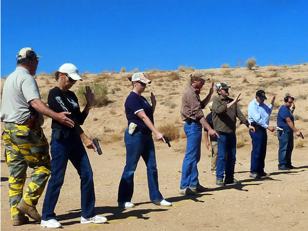 Students and Instructor at the shooting range